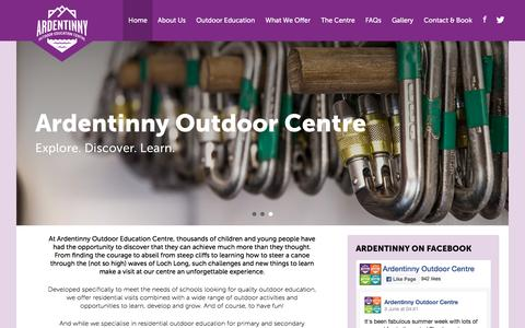 Screenshot of Home Page ardentinnycentre.org.uk - Ardentinny Outdoor Education Centre - Ardentinny - captured June 6, 2016