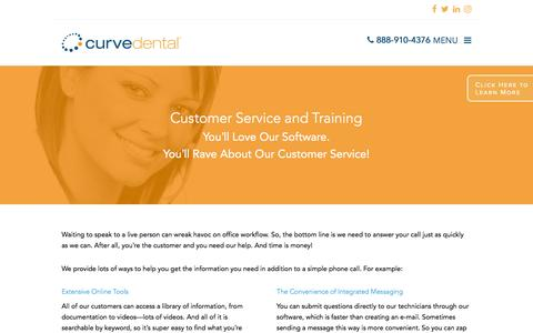 Screenshot of Support Page curvedental.com - Customer Service and Training – Curve Dental - captured Nov. 14, 2016