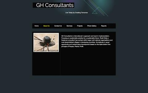 Screenshot of About Page webs.com - GH Consultants - About Us - captured Sept. 13, 2014
