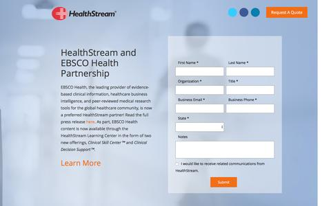 Screenshot of Landing Page healthstream.com - Skills & Decision Support - captured Aug. 21, 2016