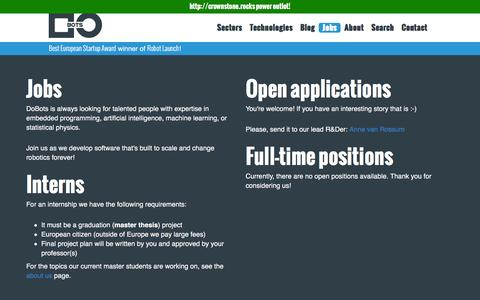Screenshot of Jobs Page dobots.nl - DoBots | Jobs - captured Feb. 9, 2016