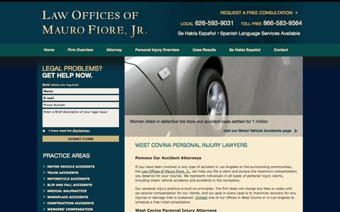 Screenshot of Home Page fiorelegal.com - West Covina Personal Injury & Malpractice Attorney | Pomona Car Accident Lawyer | Covina Workers Compensation Attorney - captured Oct. 2, 2014