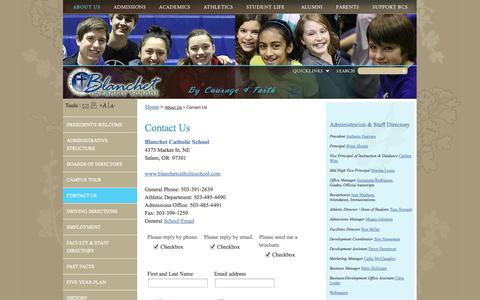Screenshot of Contact Page blanchetcatholicschool.com - Blanchet Catholic School: Contact Us - captured Sept. 30, 2014
