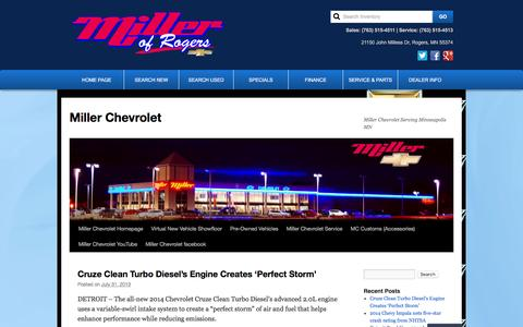 Screenshot of Blog millerchev.com - Miller Chevrolet in Rogers, MN | Twin Cities Chevrolet - captured Feb. 13, 2016