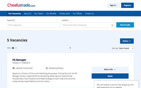 Screenshot of Jobs Page checkatrade.com - Vacancy Search Results - Checkatrade - captured Aug. 20, 2019