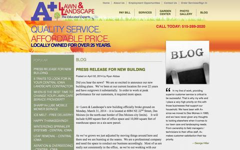 Screenshot of Blog apluslawn.com - A Plus Lawn & Landscape - Blog - Lawn Care Central Iowa, Landscaping Central Iowa, Irrigation Installation Central Iowa, Irrigation System Repair Des Moines, Tree & Scrub Care, Landscape Lighting Des Moines, Garden Center Ankeny - captured Oct. 4, 2014