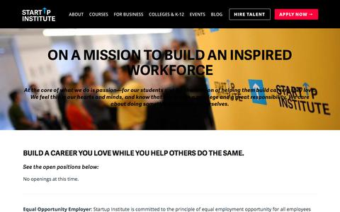 Screenshot of Jobs Page startupinstitute.com - Startup Institute Careers | Startup Institute - captured April 21, 2018