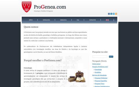 Screenshot of Home Page progenea.com - ProGenea.com - Genealogia e Heráldica Portuguesa - captured Sept. 29, 2018