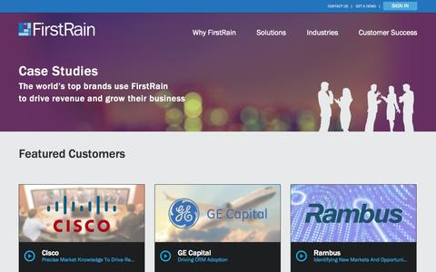 Screenshot of Case Studies Page firstrain.com - Case Studies - FirstRain - captured Sept. 16, 2014