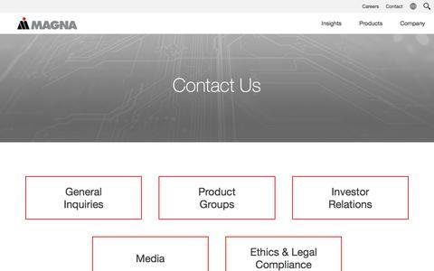 Screenshot of Contact Page magna.com - Contact - captured Feb. 18, 2020