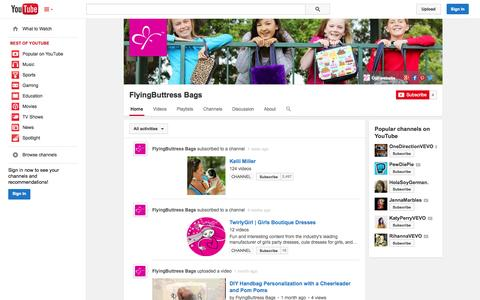 Screenshot of YouTube Page youtube.com - FlyingButtress Bags  - YouTube - captured Nov. 3, 2014