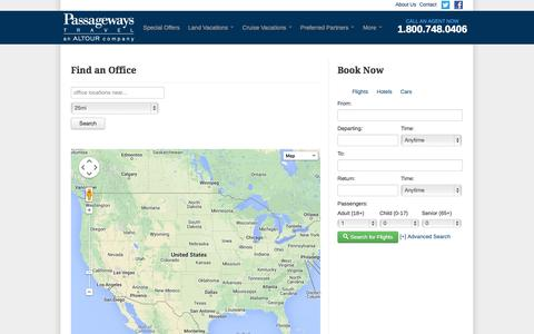 Screenshot of Locations Page passagewaystravel.com - Find an Office - captured Oct. 1, 2014