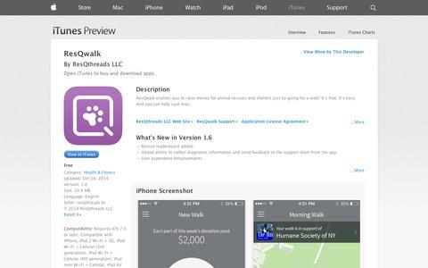 Screenshot of iOS App Page apple.com - ResQwalk on the App Store on iTunes - captured Oct. 22, 2014