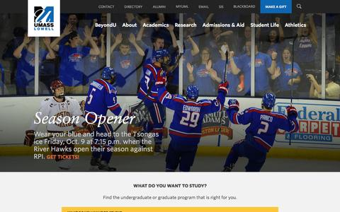 Screenshot of Home Page uml.edu - UMass Lowell | UMass Lowell - captured Oct. 7, 2015