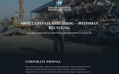 Screenshot of About Page upstateshredding.com - About The Company | Upstate Shredding – Weitsman Recycling - captured Nov. 16, 2018