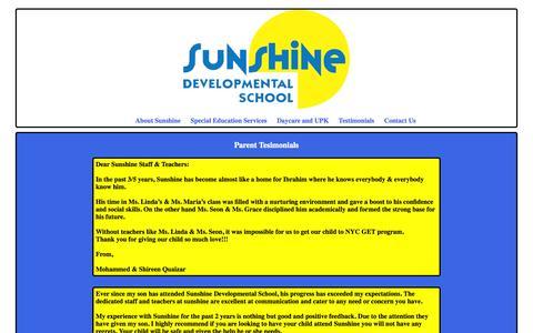 Screenshot of Testimonials Page sunshineschool.org - Sunshine Developmental School - Contact Use - captured Oct. 7, 2014