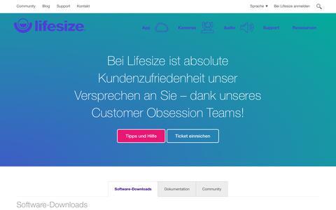 Screenshot of Press Page Support Page lifesize.com - Support für Lifesize-Videokonferenzen | Wir sind für Sie da! - captured May 4, 2018