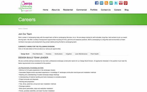 Screenshot of Jobs Page bernslandscape.com - Michigan Landscaping Careers | Berns Landscaping - Employment Opportunity - captured Oct. 5, 2014