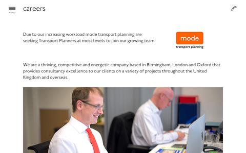 Screenshot of Jobs Page modetransport.co.uk - mode is recruiting for a wide range of transport planning careers : Mode - captured Oct. 7, 2014