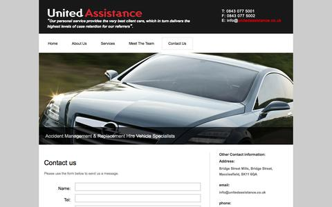 Screenshot of Contact Page unitedassistance.co.uk - Accident Management | Car Replacement Hire Specialists - United Assistance - captured Oct. 9, 2014