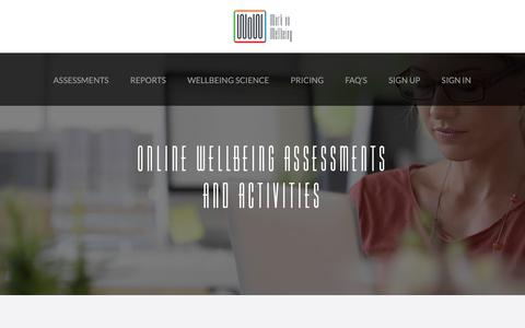 Screenshot of Home Page workonwellbeing.com - Work on Wellbeing - captured Oct. 20, 2018