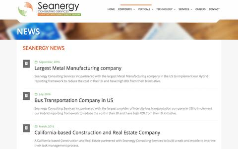 Screenshot of Press Page seanergycs.com - :: Seanergy Consulting Services :: - captured April 7, 2017