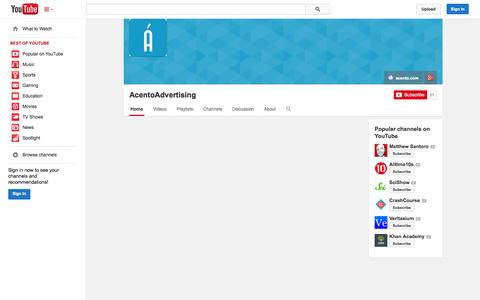 Screenshot of YouTube Page youtube.com - AcentoAdvertising  - YouTube - captured Oct. 25, 2014