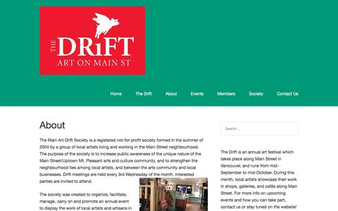 Screenshot of About Page thedrift.ca - About – The Drift - captured Oct. 22, 2017