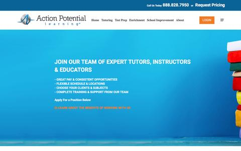 Screenshot of Jobs Page aplearning.com - Tutoring Jobs - Action Potential Learning - captured Nov. 20, 2016