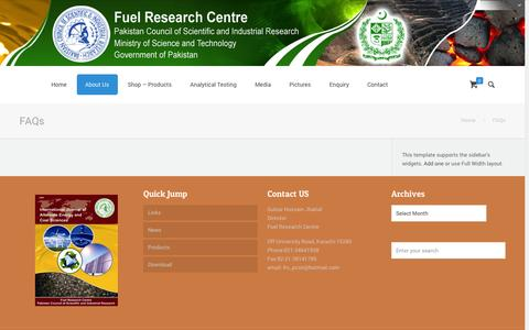 Screenshot of FAQ Page pcsir-frc.gov.pk - FAQs | Fuel Research Centre - captured Oct. 27, 2014
