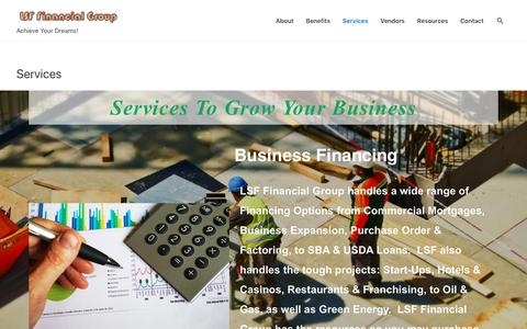Screenshot of Services Page lsffinancial.com - Services - LSF Financial Group - captured Dec. 15, 2018