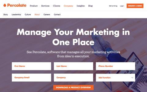 Screenshot of About Page percolate.com - Marketing Campaign and Content Calendar | Percolate - captured April 22, 2016