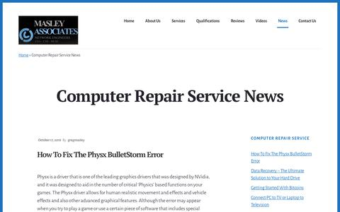 Screenshot of Press Page masleyassociates.com - Computer Repair Service News | Masley Associates Computer Repair - captured Oct. 19, 2018