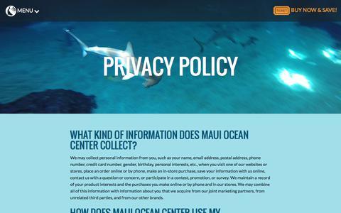 Screenshot of Privacy Page mauioceancenter.com - Privacy Policy - Maui Ocean Center - captured June 10, 2017