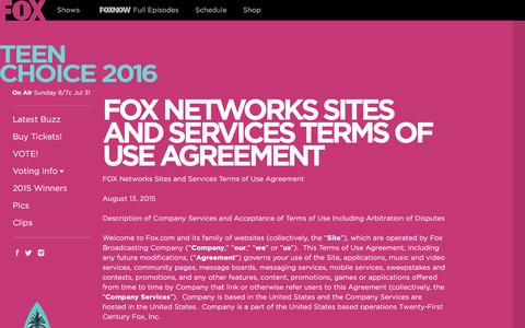 Screenshot of Terms Page teenchoice.com - FOX Networks Sites and Services Terms of Use Agreement | on Fox - captured July 2, 2016