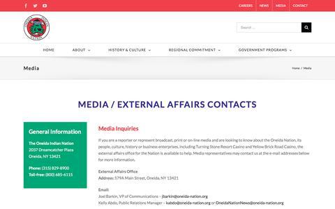 Screenshot of Press Page oneidaindiannation.com - Media – Oneida Indian Nation - captured June 12, 2017