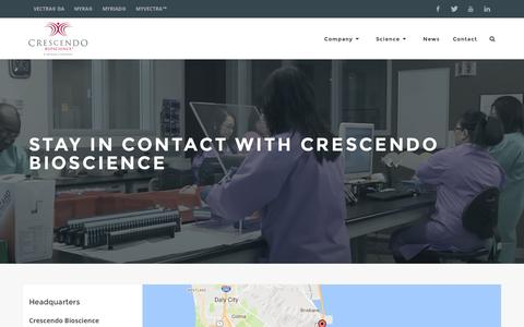 Screenshot of Contact Page crescendobio.com - Contact Crescendo Bioscience | Address - Location - captured Nov. 12, 2016