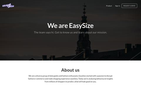 Screenshot of Team Page easysize.me - EasySize | We Know Your Size - captured Aug. 19, 2016