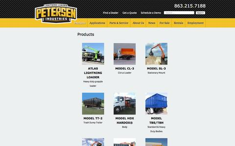 Screenshot of Products Page petersenind.com - Products Archive - Petersen Industries Lightning Loaders - captured Nov. 5, 2016