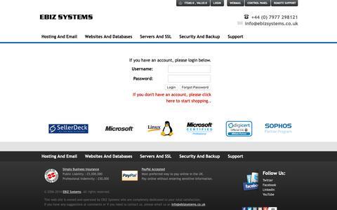 Screenshot of Login Page ebizsystems.co.uk - EBIZ Systems Login - captured Nov. 4, 2018