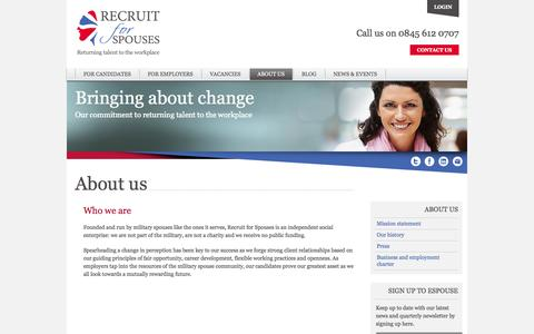 Screenshot of About Page recruitforspouses.co.uk - About us - Recruit for Spouses - captured Oct. 7, 2014
