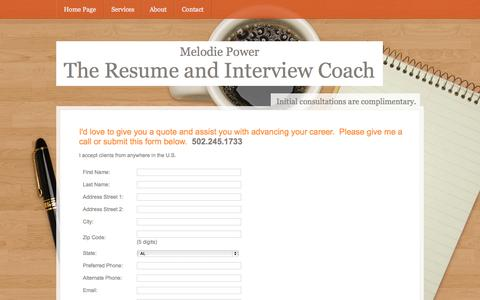 Screenshot of Contact Page resumeandinterviewcoach.com - CONTACT MELODIE POWER, RESUME WRITING SERVICES, INTERVIEW, CAREER COACH - captured Oct. 6, 2014