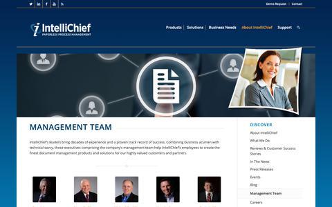 Screenshot of Team Page intellichief.com - intellichief About Management Team - captured Oct. 12, 2018