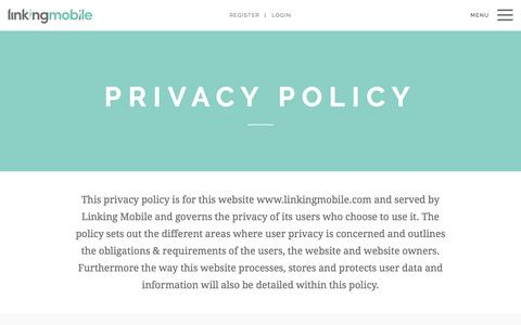 Screenshot of Privacy Page linkingmobile.com - Linking Mobile - Privacy Policy - captured May 20, 2017