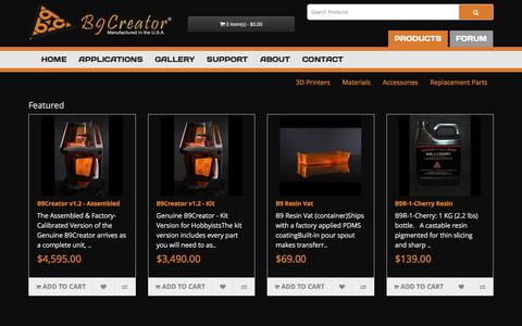 Screenshot of Products Page b9c.com - B9Creator | Shop | What will YOU create? - captured Jan. 20, 2016
