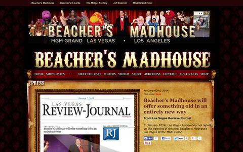 Screenshot of Press Page beachersmadhouse.com - Press : Beacher's Madhouse - captured Sept. 23, 2014