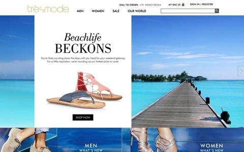 Screenshot of Home Page tresmode.com - Buy Shoes Online in India - Footwear for Men & Women & Handbags - tresmode.com - captured Sept. 3, 2015