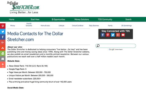 Screenshot of Press Page stretcher.com - The Dollar Stretcher - Media Contact - captured July 10, 2017