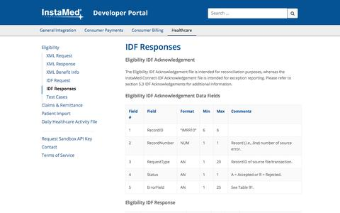 Screenshot of Developers Page instamed.com - IDF Responses - InstaMed Developer Portal - captured May 15, 2018