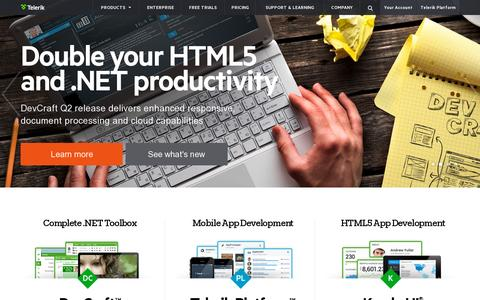 Screenshot of Home Page telerik.com - Telerik Mobile App Development Platform, .NET UI Controls, Web, Mobile, Desktop Development Tools - captured July 10, 2014